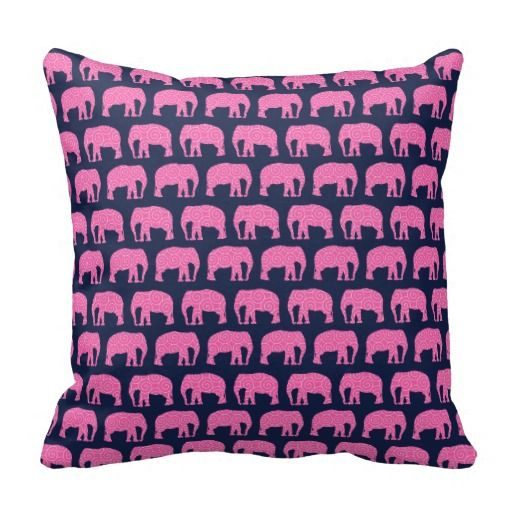 Cute Navy Pillow : Cute Hipster Elephant Pattern Pink Blue Throw Pillow Elephant pattern, Blue throws and Dark ...