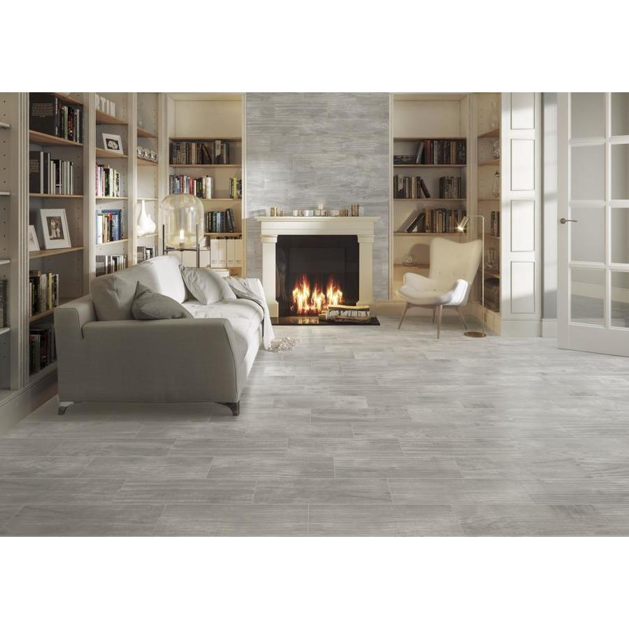 Ceramicas Tesany Acadia Grey Gray 8 In X 24 In Ceramic Wood Look Floor And Wall Tile Common 8 In X 24 In Actua Wood Ceramic Tiles Grey Ceramic Tile Flooring
