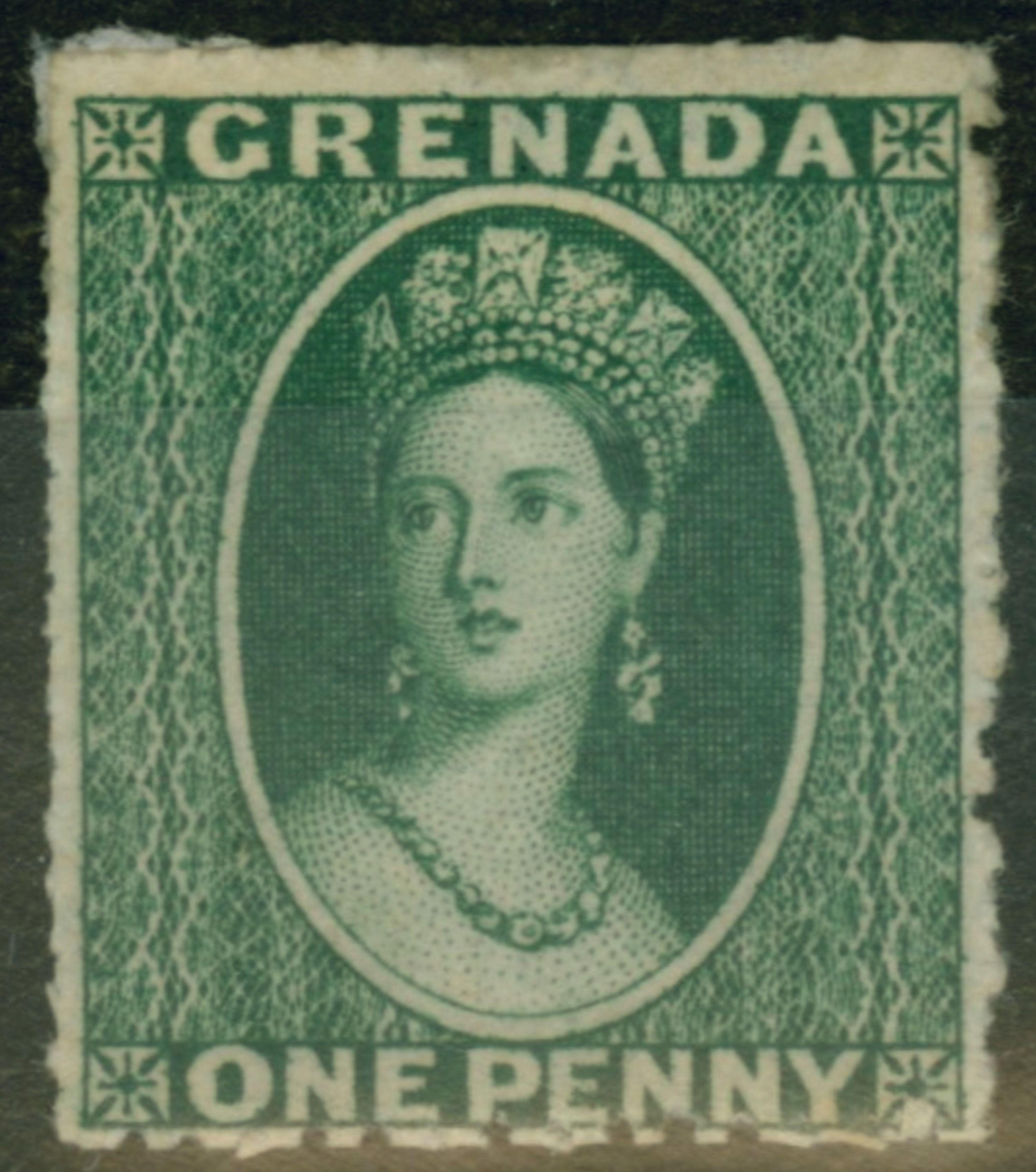 Grenada 1861 1d Bluish Green Sg1 Fine  U0026 Fresh Mtd Mint