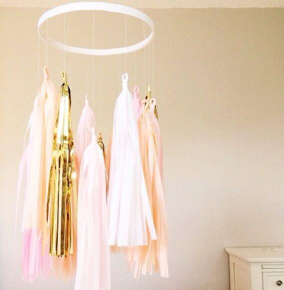 Pink and Gold Tassel Mobile  Tassel Garland by BlushBazaar on Etsy, $45.00