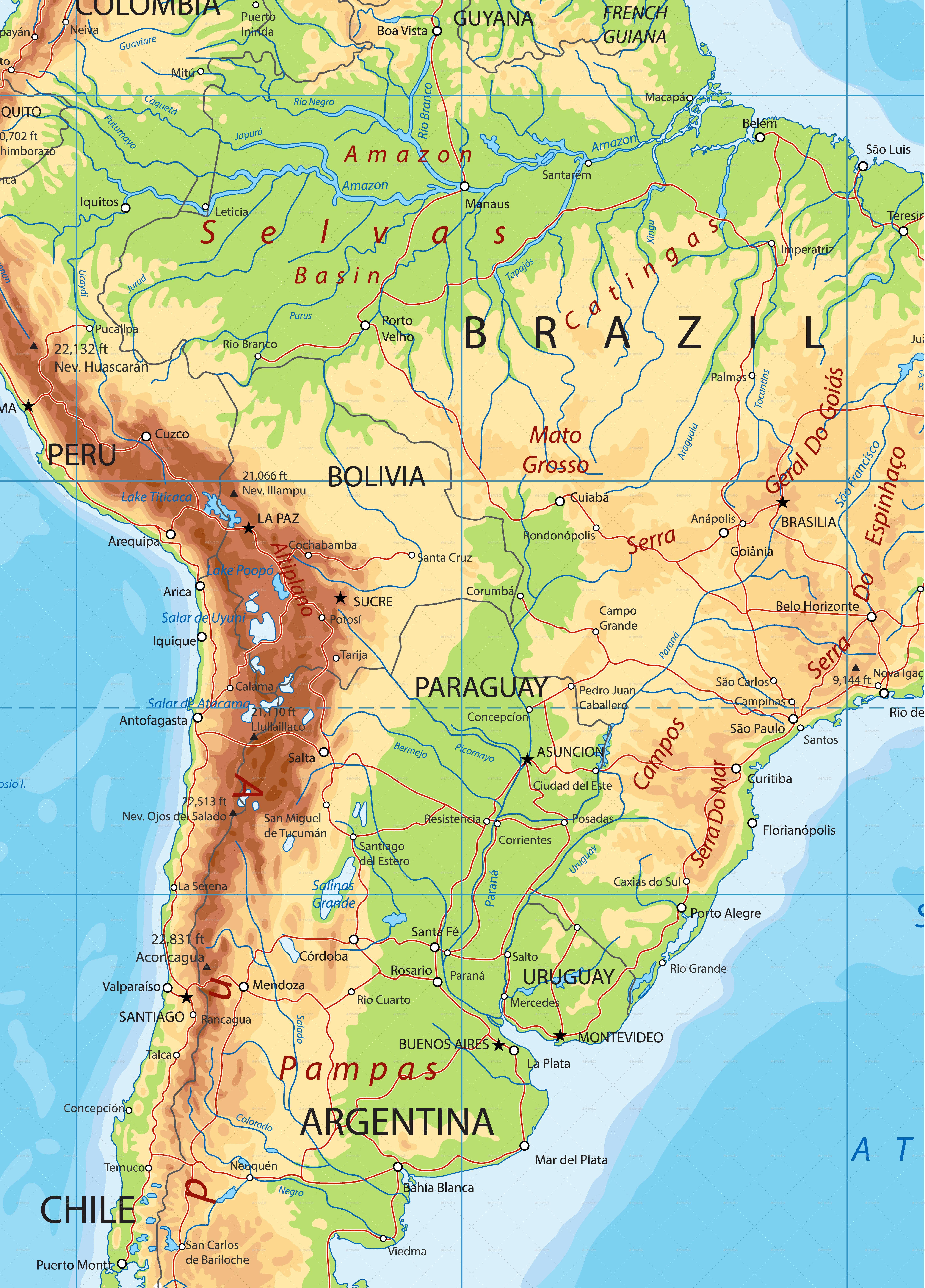 free print map physical map south america | Free prints ...