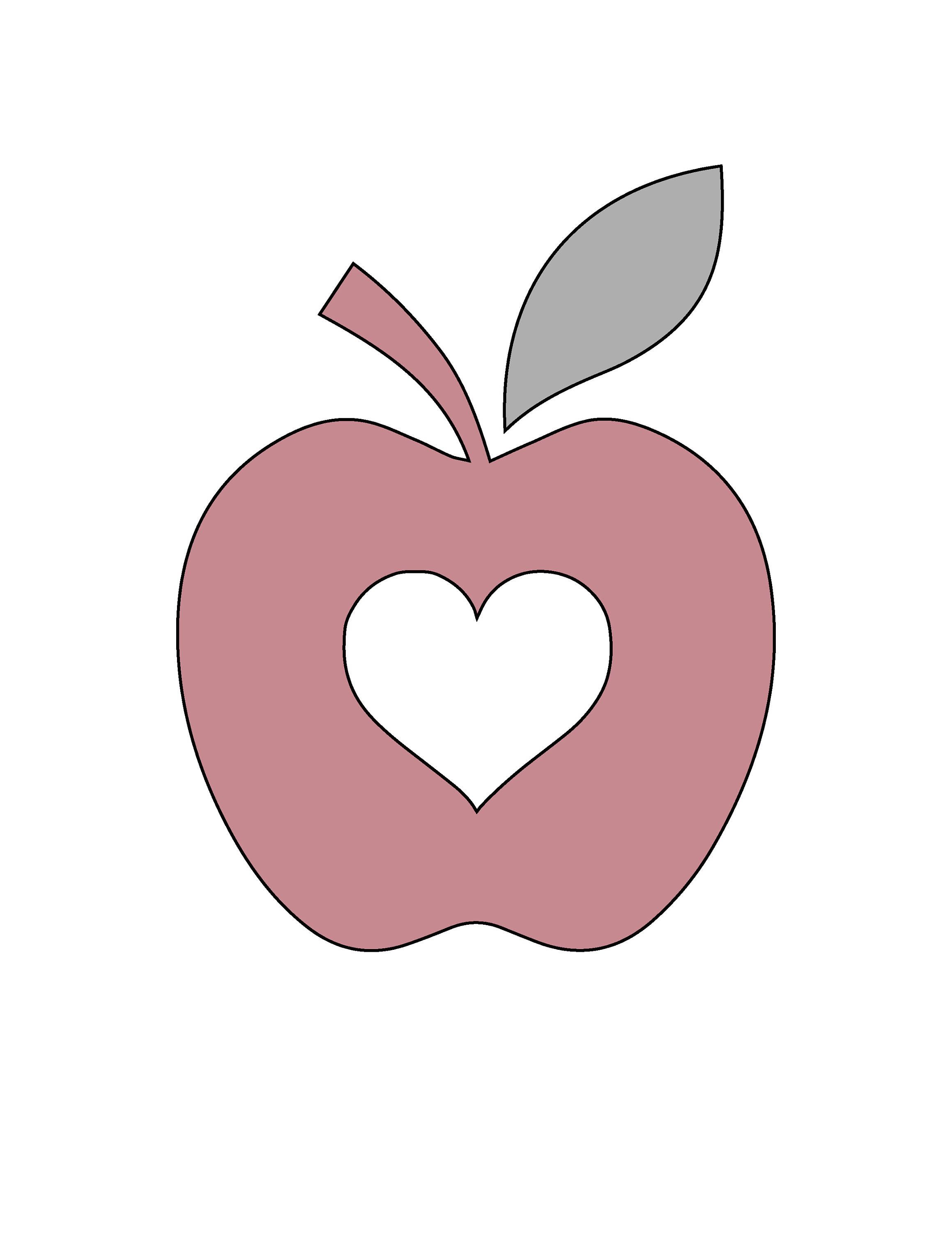 7 H String Art Apple With Heart Pattern Template