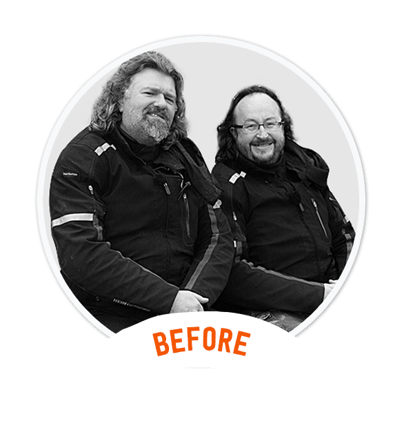 Hairy Bikers before shedding 3 stone each!