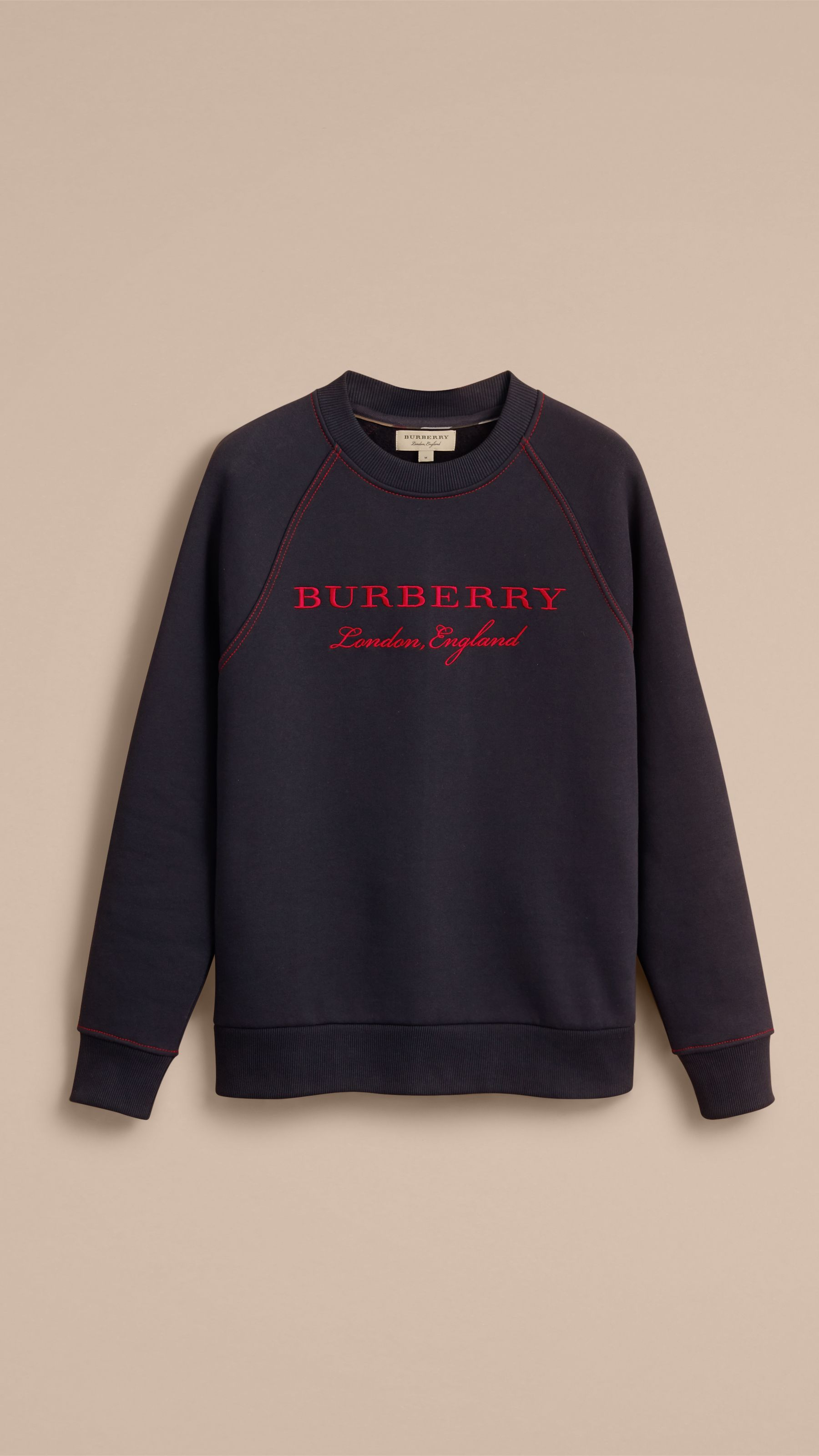 18d61a39983b Embroidered Jersey Sweatshirt Navy