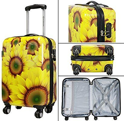 Travel Luggage Cover Hand Painted Yellow Sunflowers Pattern Suitcase Protector