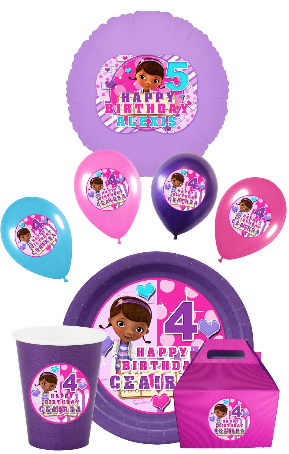 Doc Mcstuffins Party Pack With Plates, Balloons, DIY Print, Doc ...