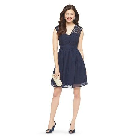 f2b4135487 Women s Scalloped Lace V-Neck with Back Cutout Bridesmaid Dress Navy 26W -  TEVOLIO™   Target