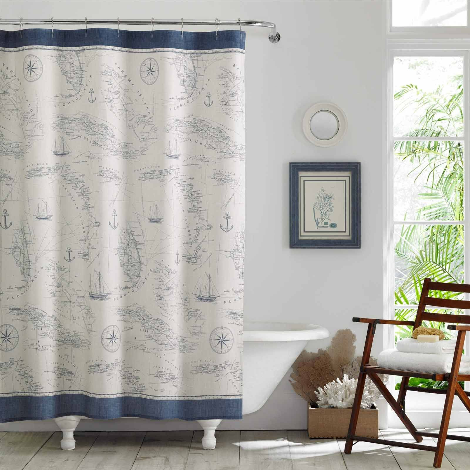 Caribbean Sea Cotton Shower Curtain By Tommy Bahama Cotton Shower Curtain Designer Shower Curtains Curtains