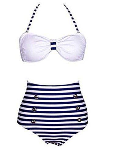 961acc9d7e28a cool Retro 50s Pinup Rockabilly Blue Vintage High Waist Bikini Swimwear  Swimsuits S #Bikini #