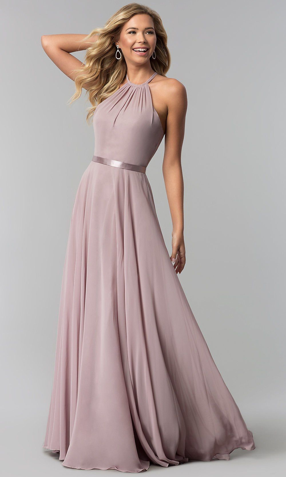 f35609bb7a7 Simply Dresses - Champagne High-Neck A-Line Long Chiffon Formal Dress