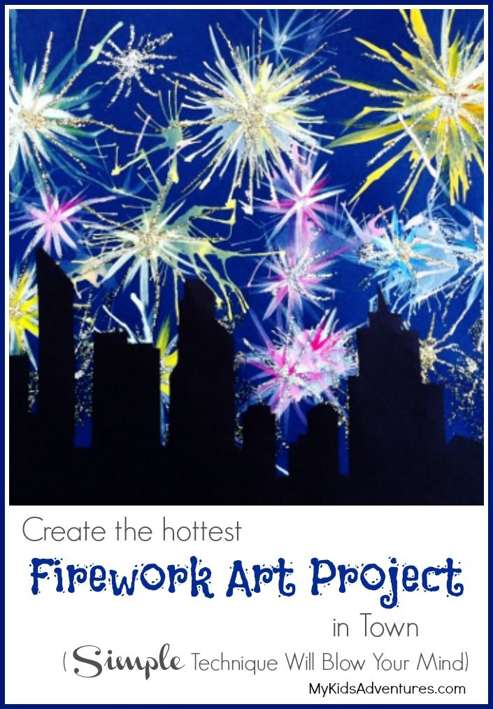how to paint fireworks with your kids silvesterfeuerwerk. Black Bedroom Furniture Sets. Home Design Ideas