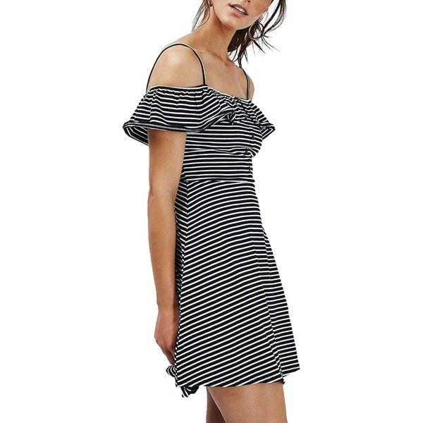 9dd31d9296d0 Women s Topshop Stripe Bardot Button Detail Dress ( 45) ❤ liked on Polyvore  featuring dresses