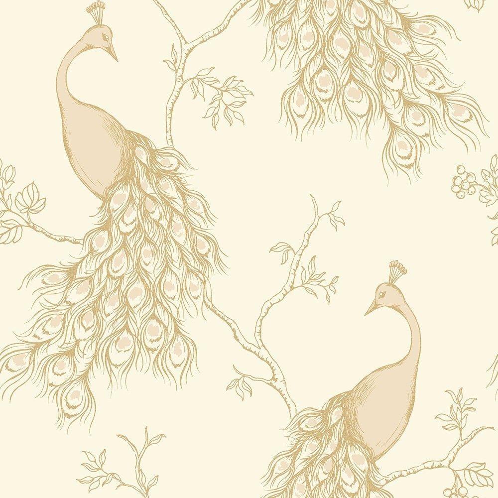 Fine Decor Peacock Empress Wallpaper Cream, Gold (FD40711