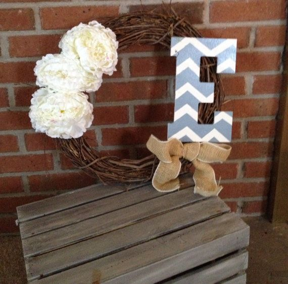 Customizable Initial wreath by RusticChicDecoration on Etsy, $20.00