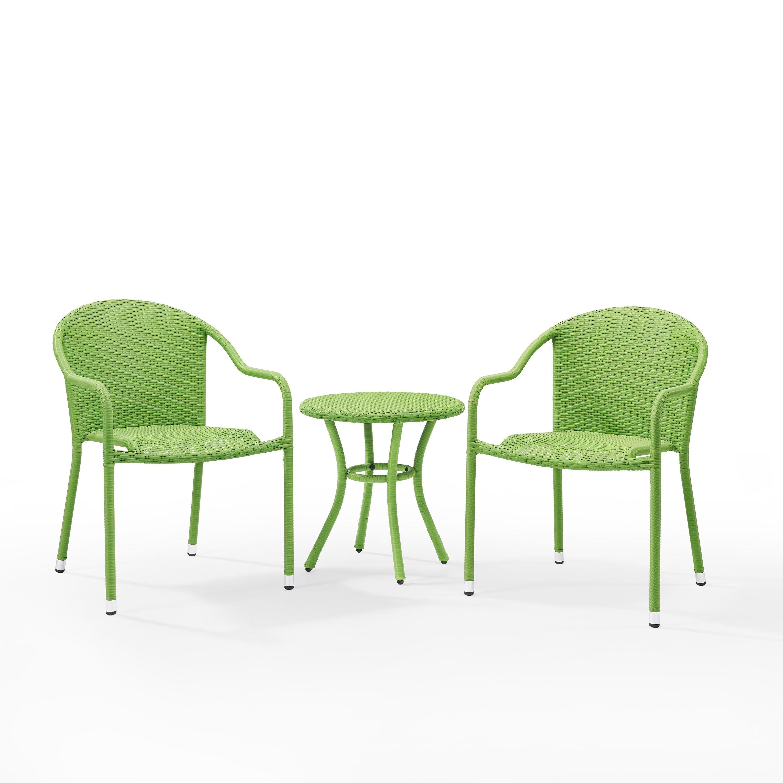 Super Crosley Furniture Palm Harbor 3 Piece Outdoor Wicker Cafe Creativecarmelina Interior Chair Design Creativecarmelinacom
