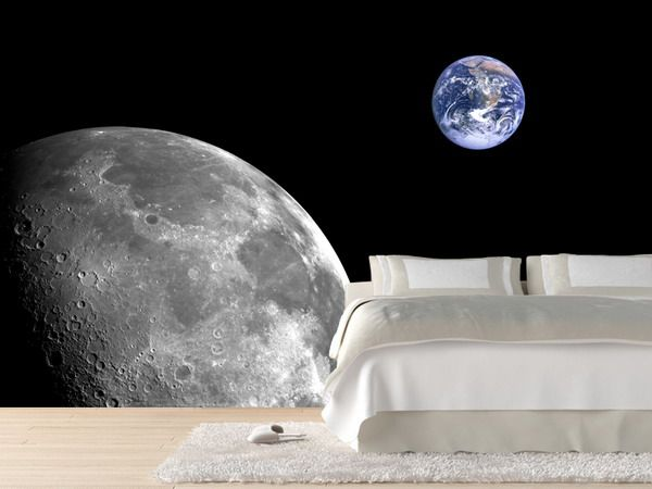 Moon And Earth Wall Mural Space Wall Murals Is Unique 12 Funky Wallpaper Mural Ideas