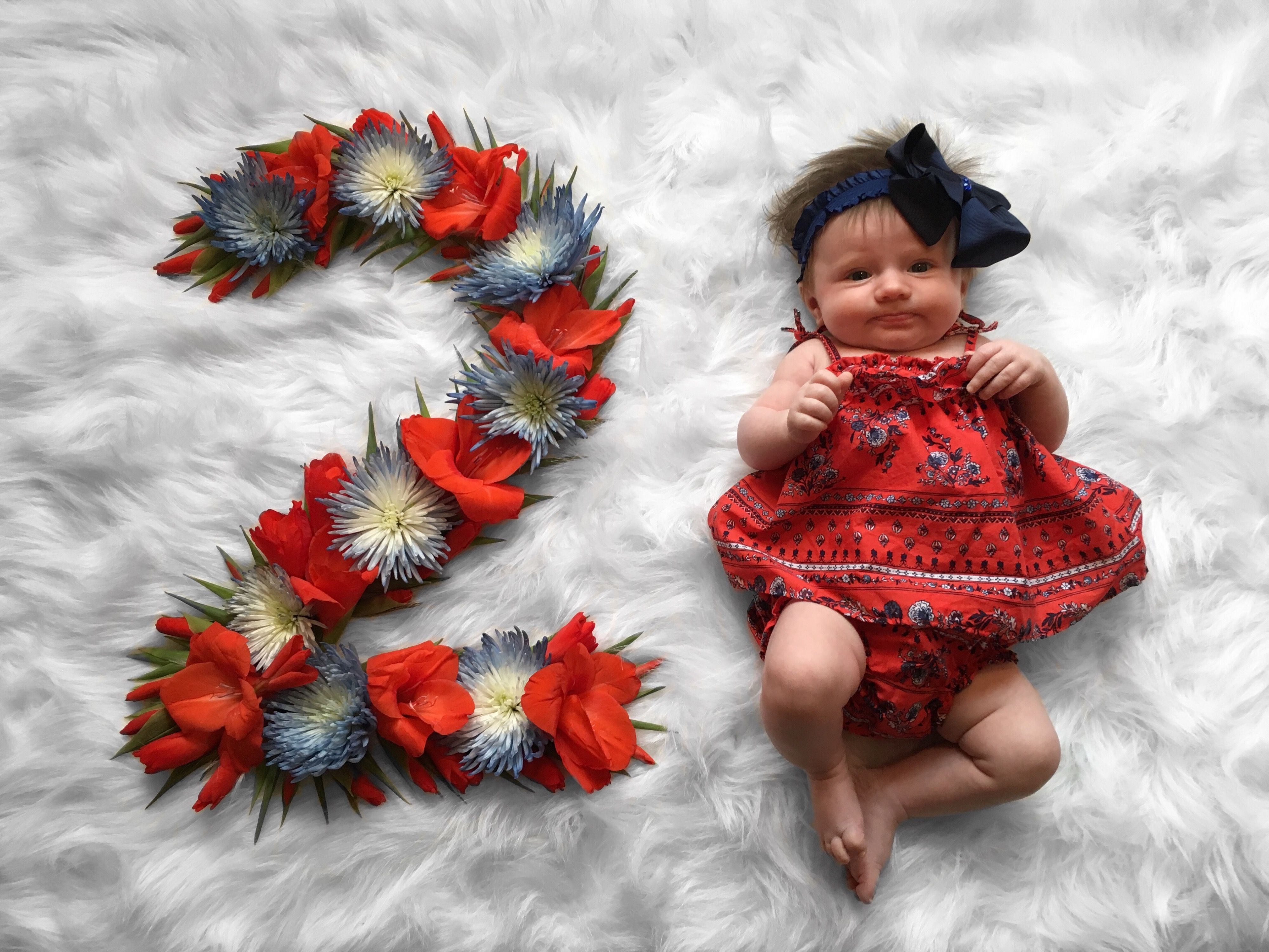 Baby 2 Month Photo Flower Wreath Idea Baby Photoshoot Girl Baby Girl Photography Baby Milestones Pictures