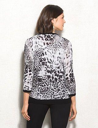 roz & ALI™ Animal Print High-Low Cardigan
