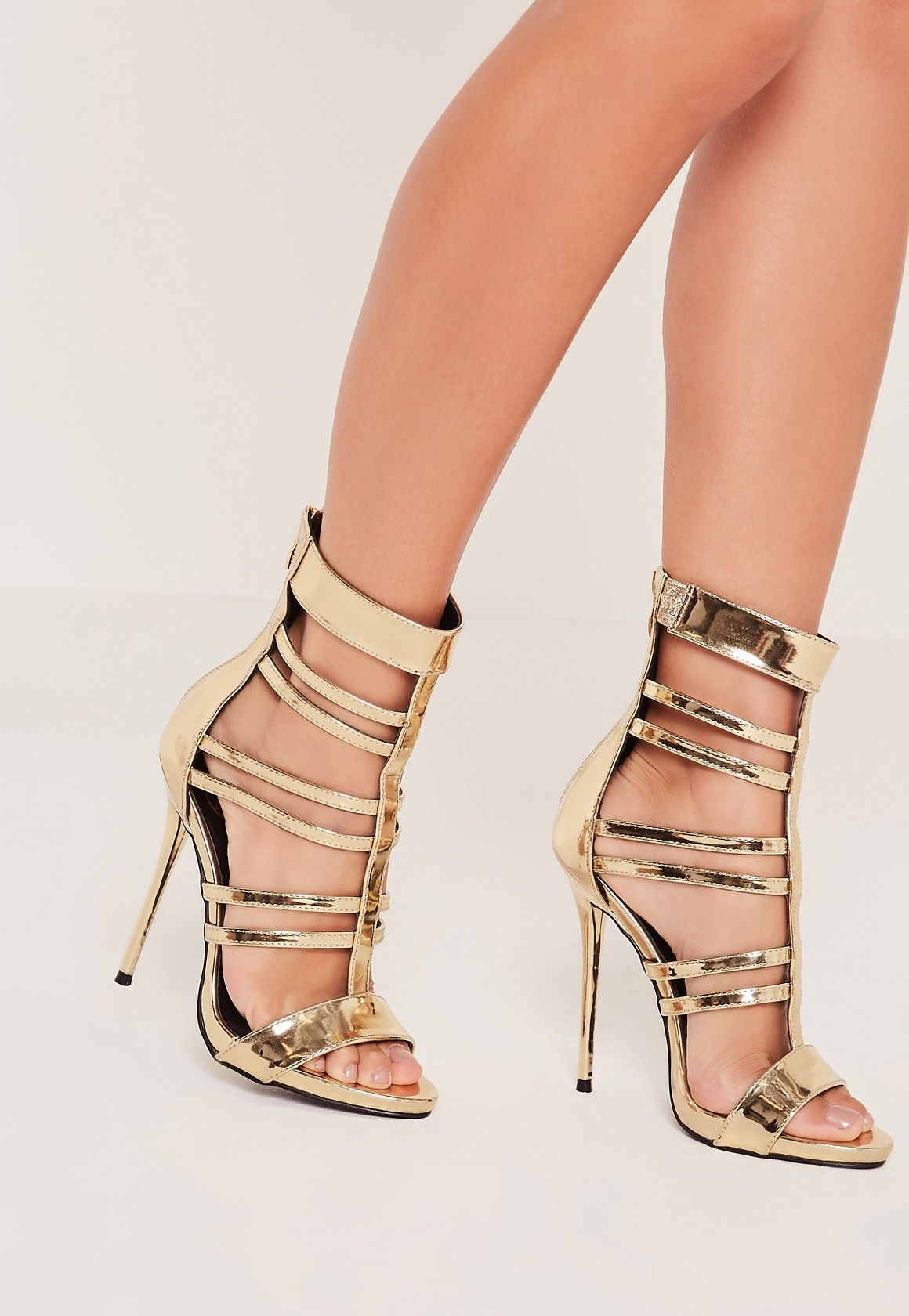 922d7638971 Missguided - T Bar Strappy Gladiator Heels Gold