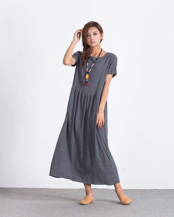 fc3c325bfa8 Women s long maxi dress Oversize linen dress Loose cotton caftan plus size  clothing linen kaftan lar