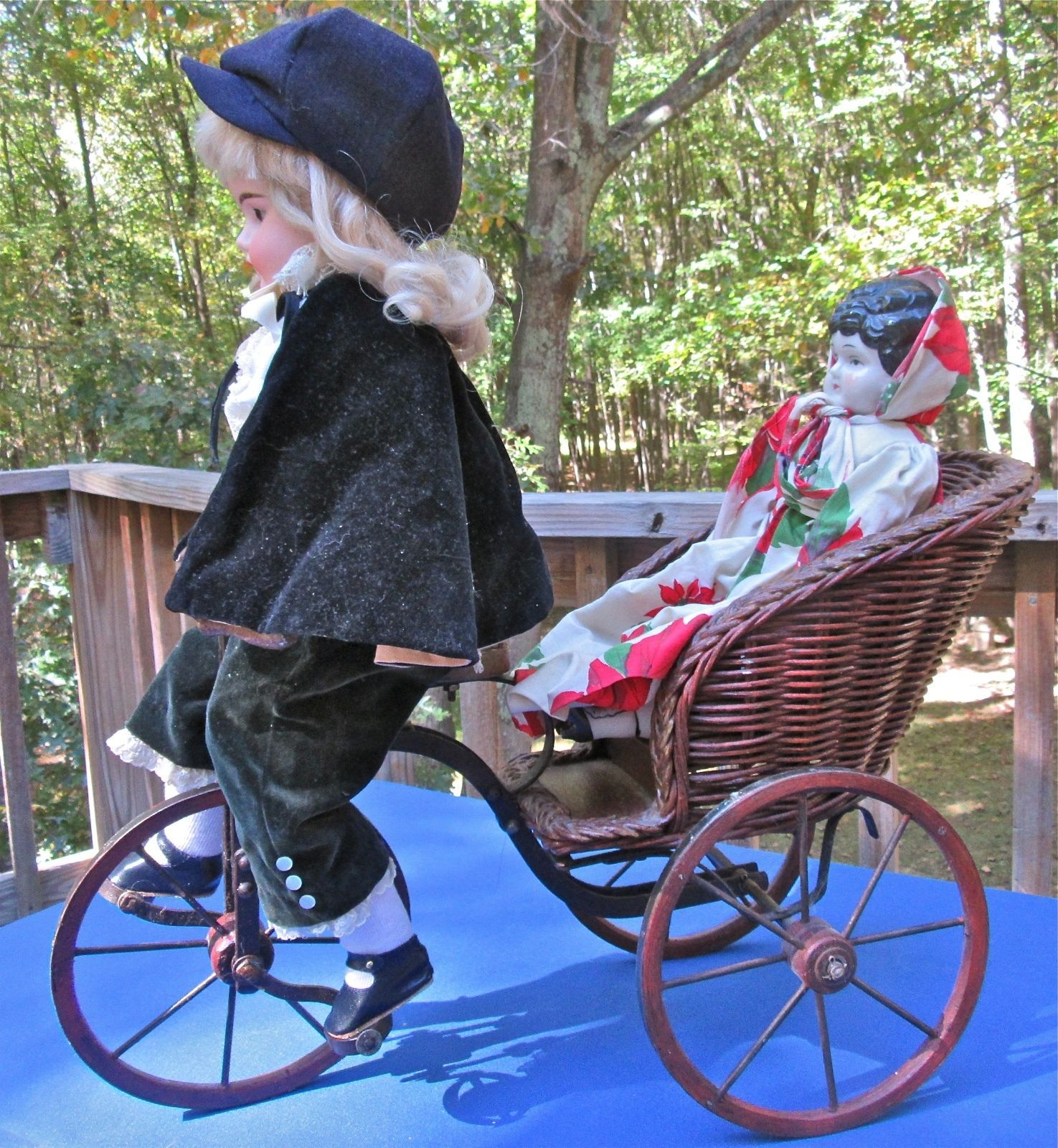 Antique Tricycle Seat Doll Toy Bicycle Victorian Wicker