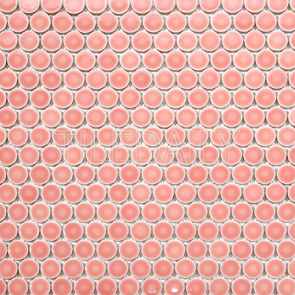 Glossy Penny Round Mosaic Penny Round Mosaic Tiles Pink Tiles
