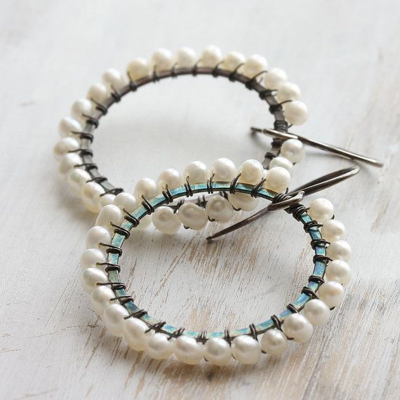m o o n b o w  wire wrapped pearl hoop earrings in by Kianda, £35.00