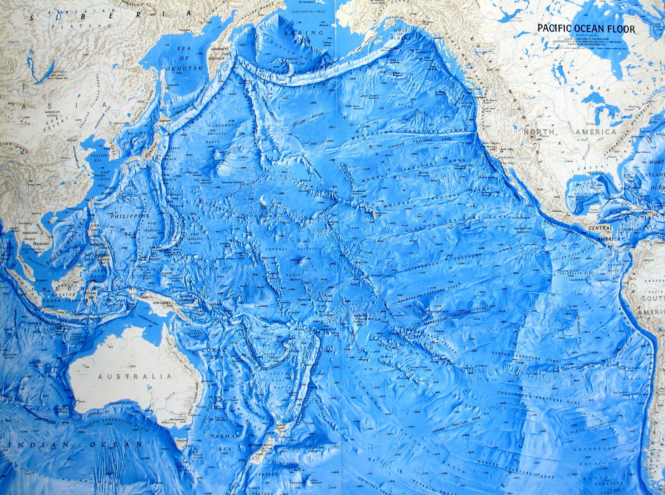 pacific ocean depth map Ocean Floor Relief Maps Detailed Maps Of Sea And Ocean Depths pacific ocean depth map