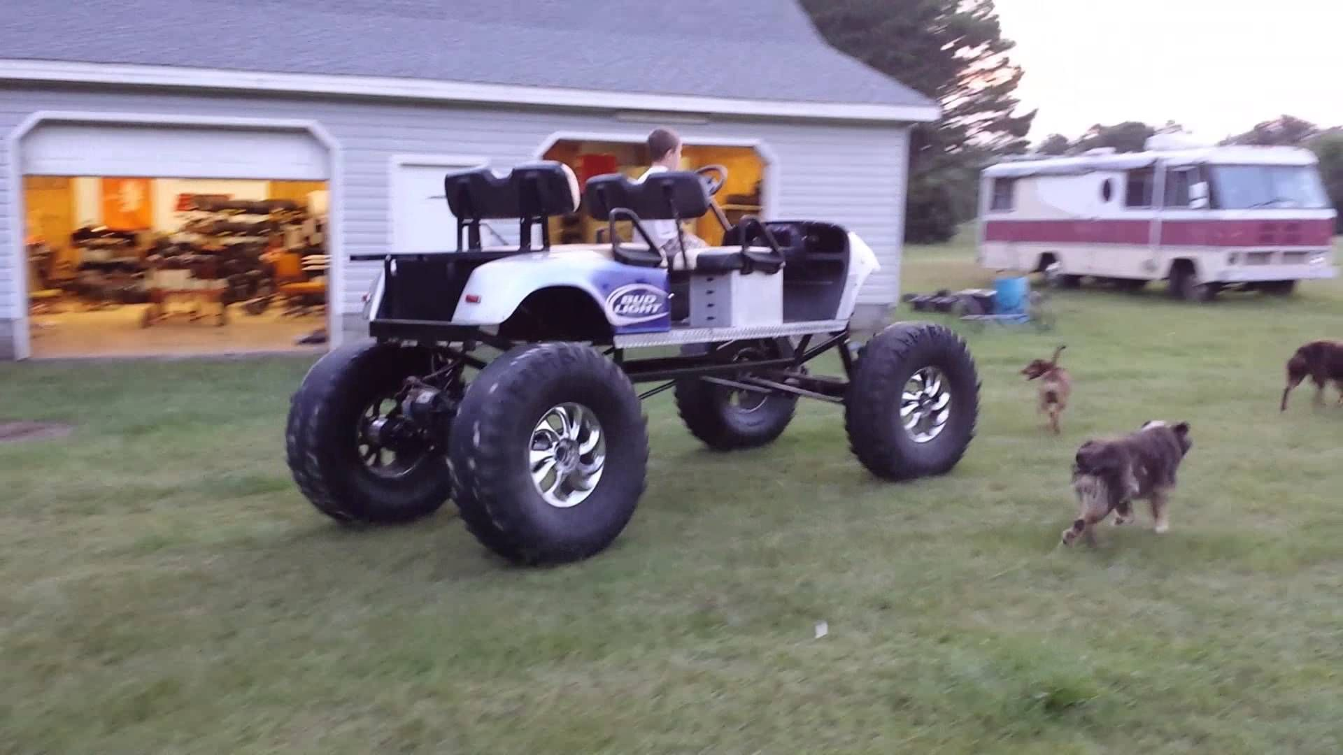 lifted monster ez go golf cart on 39 5 tires [ 1920 x 1080 Pixel ]