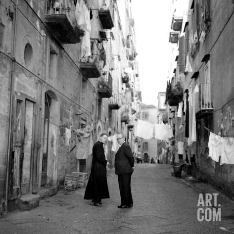 A Priest Chats to an Elderly Man in a Street, Naples, Italy 1957 Photographic Print. / Italia / Napoli / vintage / foto / photo
