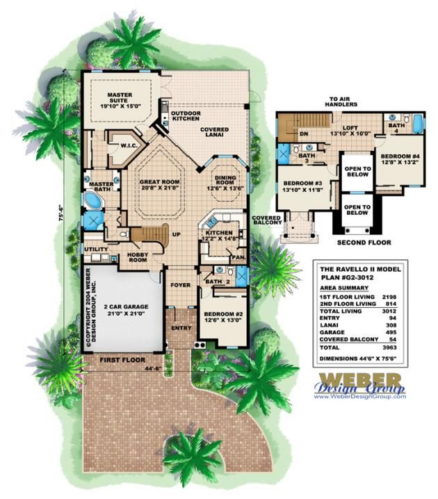 Ravello ii house plan narrow lot home plans by weber for Weber house plans