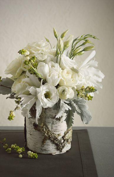 Winter white roses in a birch log flores y velas pinterest all white wedding flower centerpieces washington dc the wedding specialists mightylinksfo
