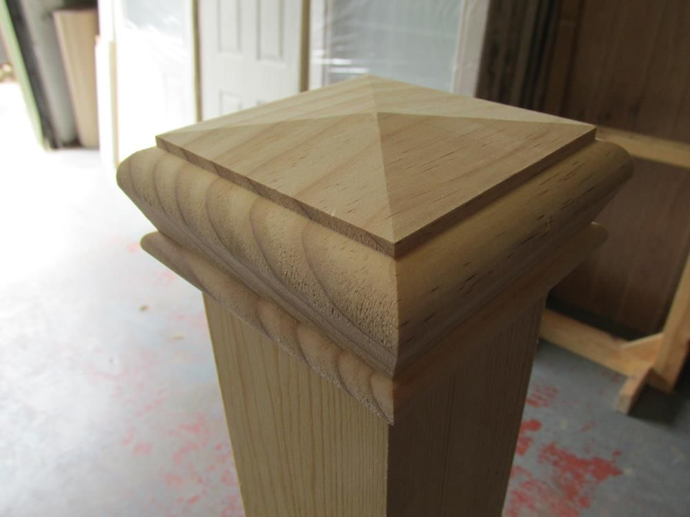 Solid Pine Pyramid Style Stair Newel Post Cap Rebate To Fit 90mm Posts Newel Post Caps Stair Newel Post Pyramid Style