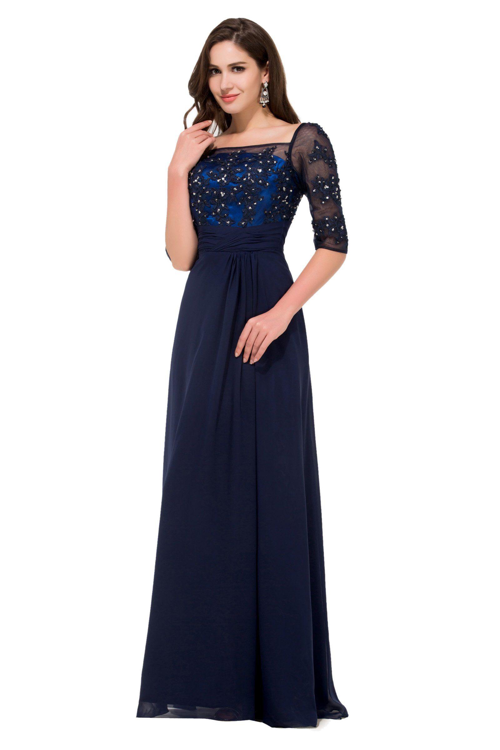 6396b839ec2 GRACE KARIN Navy Blue Short leeve Chiffon Dresses Celebrity Style Cocktail  Evening Prom Dress  Amazon.co.uk  Clothing