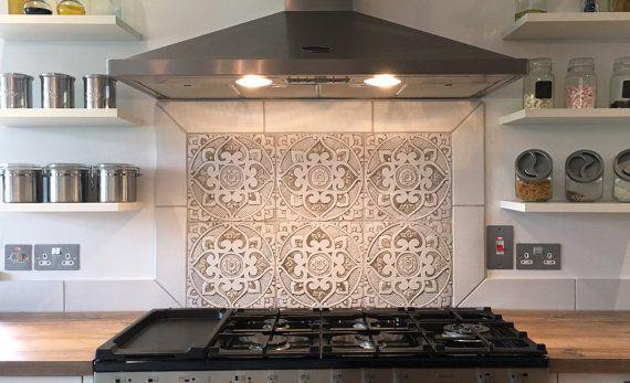 6 Ceramic Tiles For Kitchens Or Bathrooms Choose From 12 Designs Decorative Tiles Hand Painted Tile 30cm Beige With Images Handmade Tile Kitchen Painting Tile Kitchen Backsplash Designs