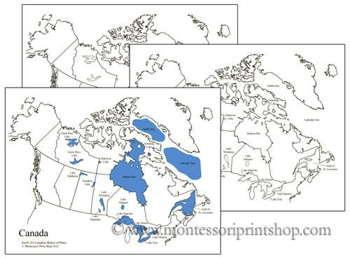Canadian Bodies of Water Map Geography for kids