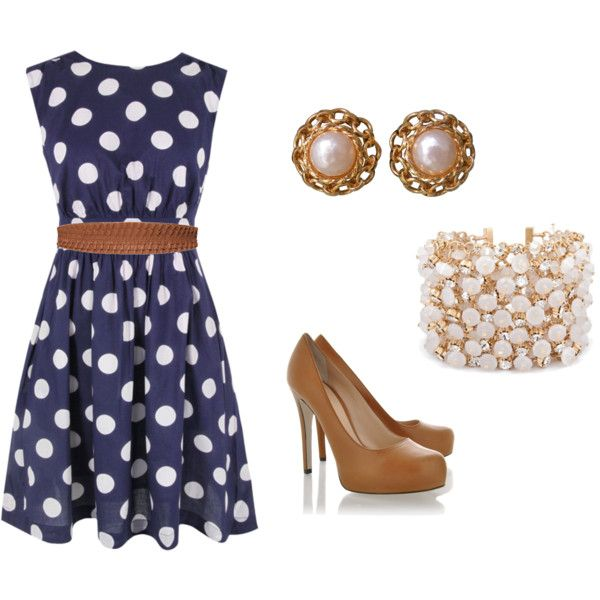 Blue with white polka dots dress