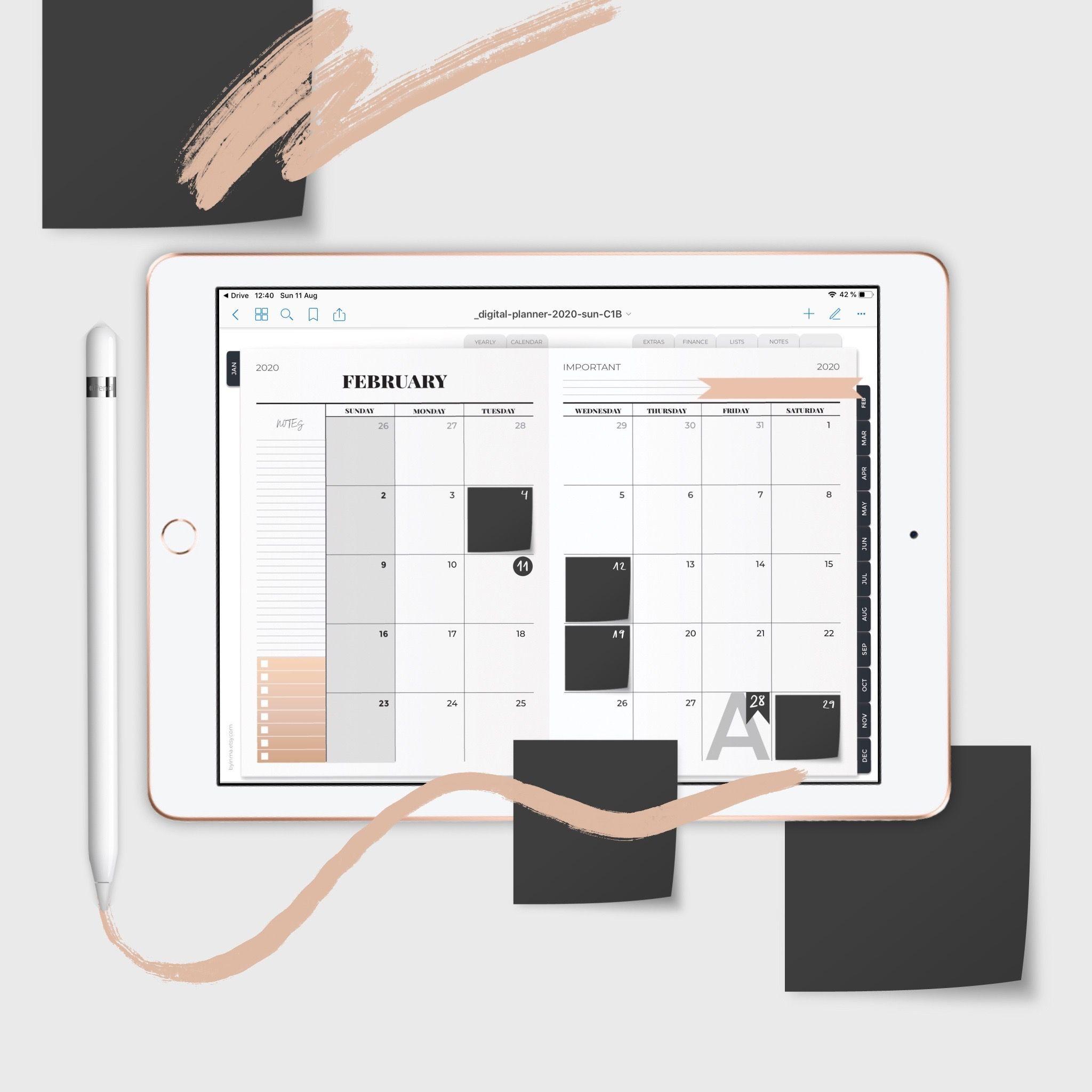 Digital Planner 2020, Noteshelf planner, Goodnotes planner