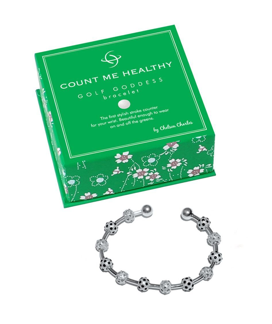 Golf goddess onyx and clear crystal score counter bracelet golf