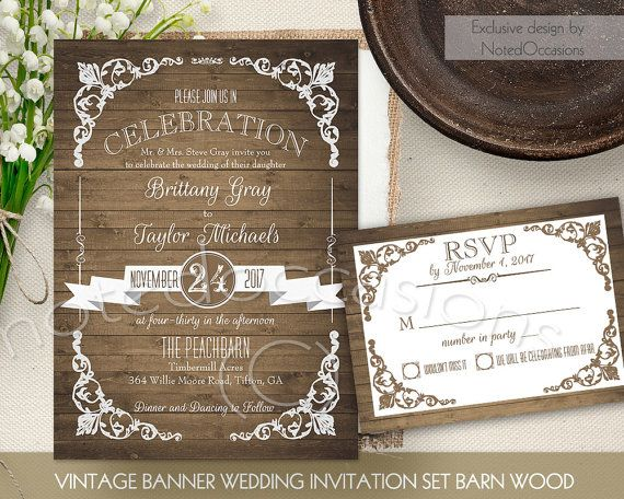 Rustic Wedding Invitation Set Country Chic Vintage Call Country Wedding Invitations Templates Country Wedding Invitations Vintage Wedding Invitations Templates