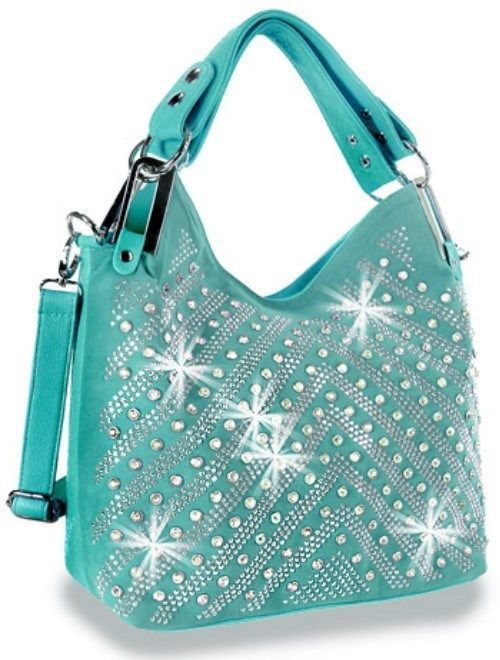 Turquoise Bling Multiple Rhinestone Chevron Shoulder /Hobo Bag ...