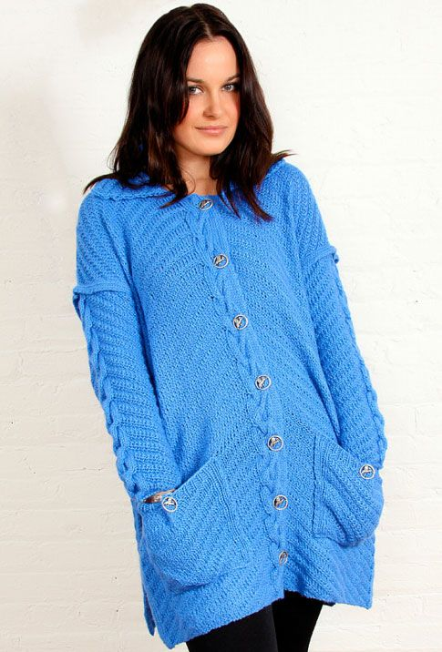 Diagonal and Cable Free Cardigan Knitting Pattern ...