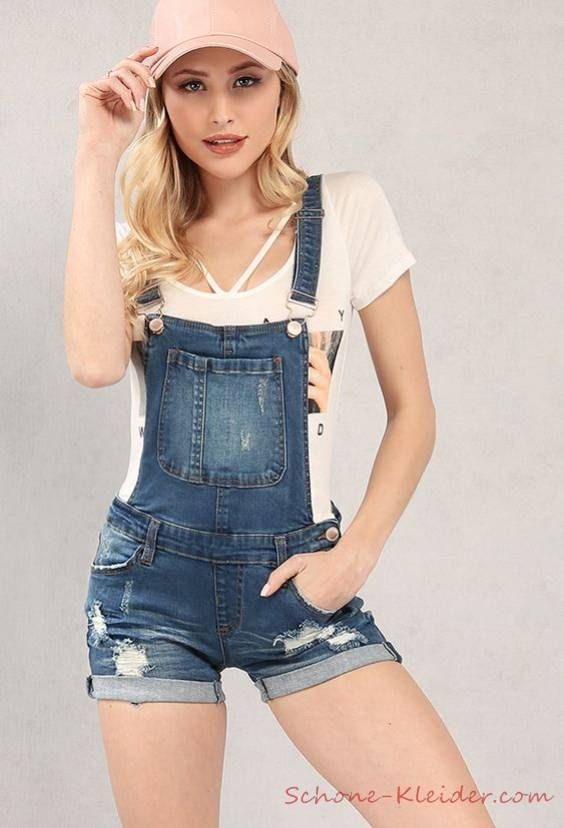 the best attitude 7bf16 d1ae6 2019 Sommer Outfit: Jeans Jumpsuit Kurz für Damen | outfits ...