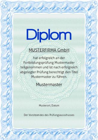 Beispiel: Muster-Diplom-Blau-Grau | Urkunden | Pinterest