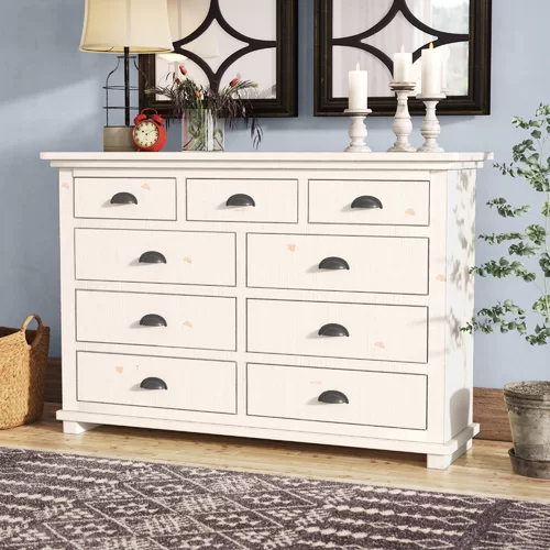 Castagnier 5 Drawer Chest Furniture 9 Drawer Dresser Solid Wood Dresser