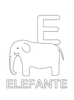 spanish alphabet coloring page e - Spanish Alphabet Coloring Pages