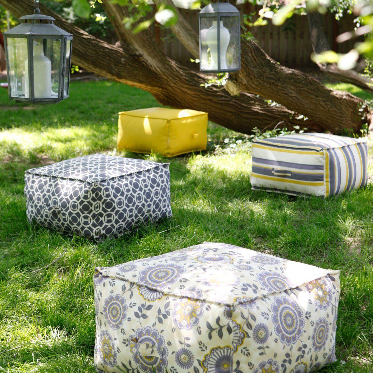Bella Flora Outdoor Pouf Ottoman Cushion