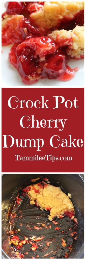 Crock Pot Cherry Dump Cake Recipe #crockpotmeals