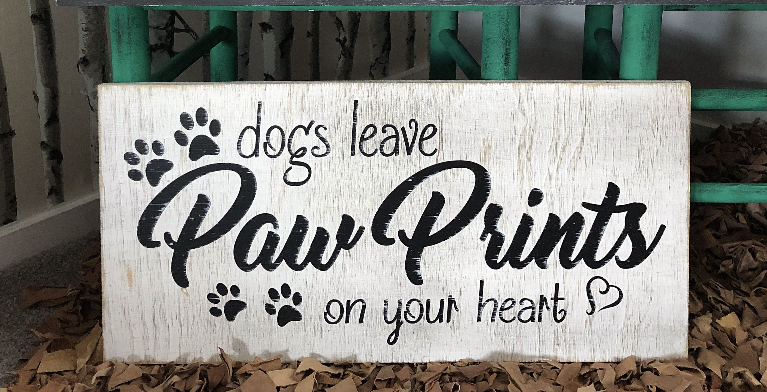 Paw Prints Dog wood sign
