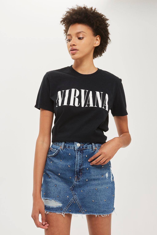MOTO Rip Stud Denim Skirt | Style | Pinterest | Studded denim, Denim ...